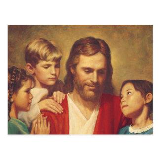 Jesucristo con los niños postal
