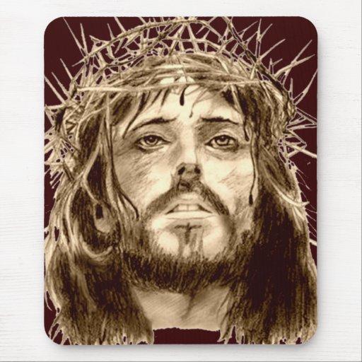 Jesucristo con una corona de espinas mousepad
