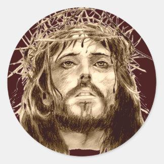 Jesucristo con una corona de espinas pegatina redonda