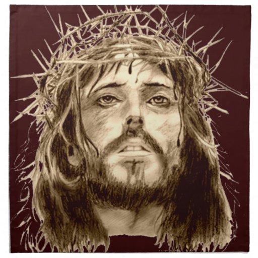 Jesucristo con una corona de espinas servilletas de papel