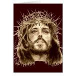 Jesucristo con una corona de espinas tarjeta