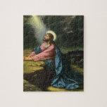 Jesucristo del vintage que ruega en Gethsemane Rompecabeza