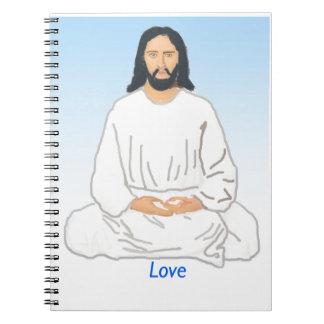 Jesucristo en un diario libro de apuntes con espiral