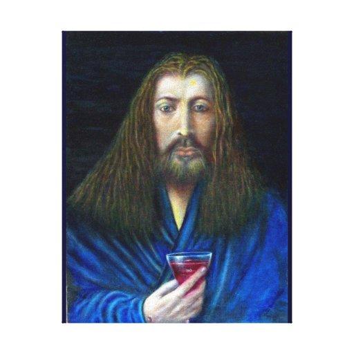 JESUCRISTO, LA CÁLIZ IMPRESIÓN EN LIENZO ESTIRADA
