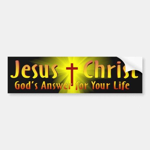 Jesucristo: La respuesta de dios Etiqueta De Parachoque