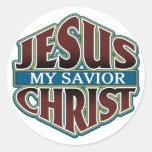 Jesucristo mi salvador etiquetas redondas