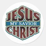 Jesucristo mi salvador pegatina redonda