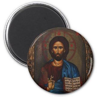 JESUCRISTO ortodoxo griego bizantino del icono Imán Redondo 5 Cm