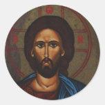 JESUCRISTO ortodoxo griego bizantino del icono Pegatina Redonda