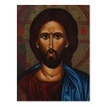 JESUCRISTO ortodoxo griego bizantino del icono Postal