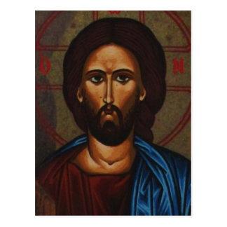 JESUCRISTO ortodoxo griego bizantino del icono Tarjetas Postales