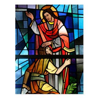 Jesucristo que cura el arte cojo del vitral postales