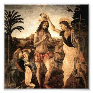 Jesucristo que es bautizado por Juan, pintando por Cojinete