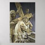Jesucristo que lleva el poster cruzado
