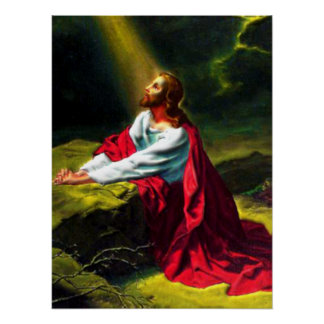 Jesucristo que ruega en el jardín de Gethsemane Póster