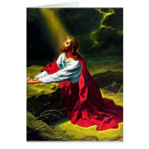 Jesucristo que ruega en el jardín de Gethsemane Felicitación