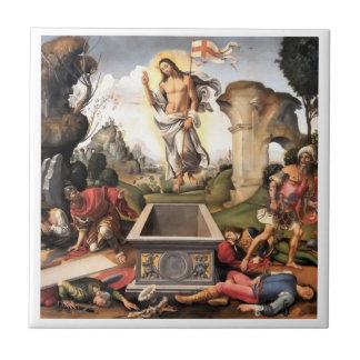 Jesucristo que sube sobre sepulcro azulejo cuadrado pequeño
