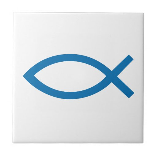 Jesucristo, símbolo cristiano de los pescados para teja  ceramica