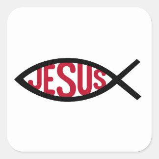Jesucristo, símbolo cristiano de los pescados para pegatina cuadrada
