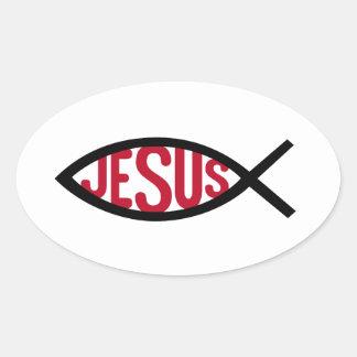 Jesucristo, símbolo cristiano de los pescados para pegatina ovalada