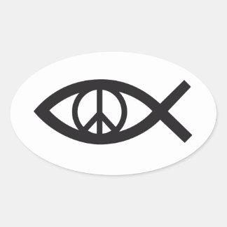 Jesucristo, símbolo cristiano de los pescados, pegatina ovalada