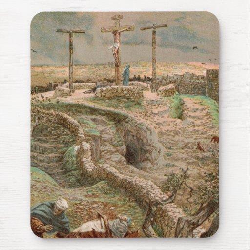 Jesucristo solamente en la cruz mousepads
