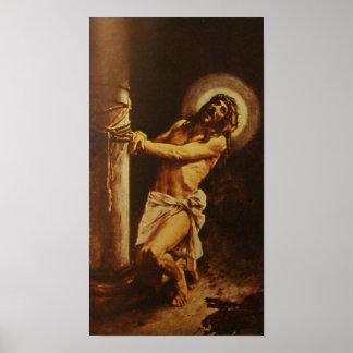 Jesucristo sufridor del criado azotado póster