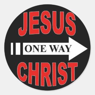 Jesucristo una manera pegatina redonda