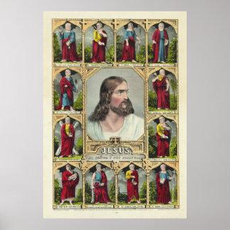 Jesucristo y el cristianismo de doce apóstoles impresiones
