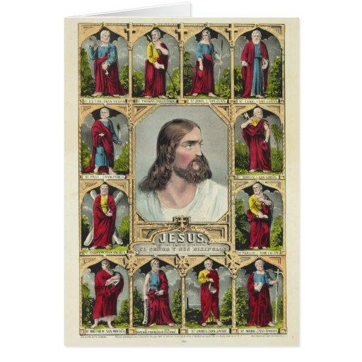 Jesucristo y el cristianismo de doce apóstoles tarjeta