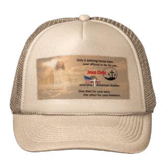 Jesucristo y el soldado americano gorro de camionero