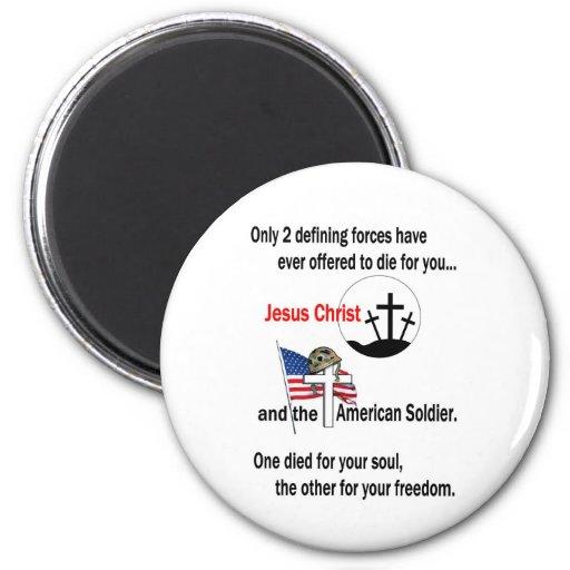 Jesucristo y el soldado americano iman de frigorífico