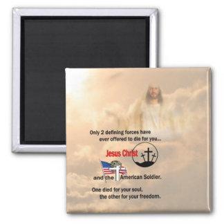 Jesucristo y el soldado americano imán cuadrado