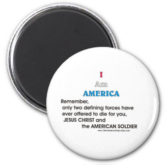Jesucristo y el soldado americano imán redondo 5 cm