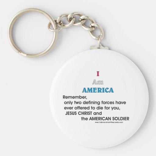 Jesucristo y el soldado americano llavero personalizado