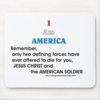 Jesucristo y el soldado americano mouse pad