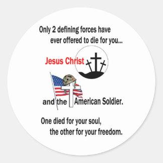 Jesucristo y el soldado americano pegatina redonda