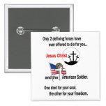 Jesucristo y el soldado americano pins
