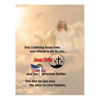 Jesucristo y el soldado americano postales