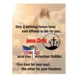 Jesucristo y el soldado americano tarjetas postales