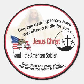 Jesucristo y los pegatinas redondos del soldado pegatina redonda