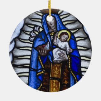 JESUCRISTO Y MADRE MARIA ADORNO REDONDO DE CERÁMICA