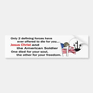 Jesucristo y versión del soldado americano la 2da etiqueta de parachoque