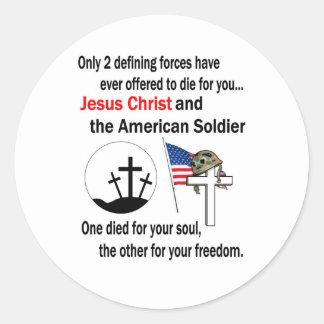 Jesucristo y versión del soldado americano la 2da pegatina redonda