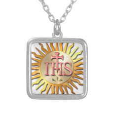 Jesuit Seal Silver Plated Necklace