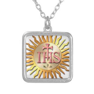 Jesuit Seal Square Pendant Necklace