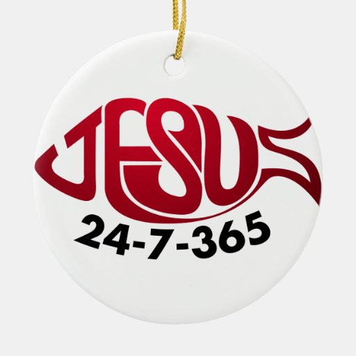 Jesus24-7-365 Double-Sided Ceramic Round Christmas Ornament