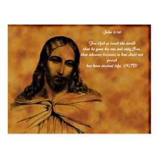 jesus-0014, John 3:16For God so loved the world... Postcard