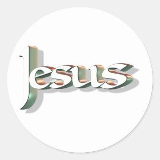 Jesus 3D Vert 3D Classic Round Sticker