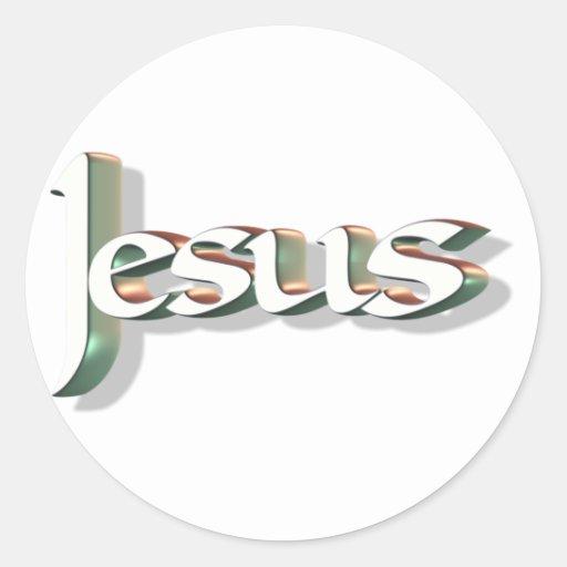 Jesús 3D Vert 3D Pegatina Redonda